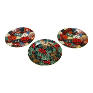Fitz and Floyd Porcelain Christmas Plates - Set of 3