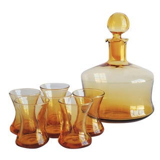 Vintage Amber Cocktail Set