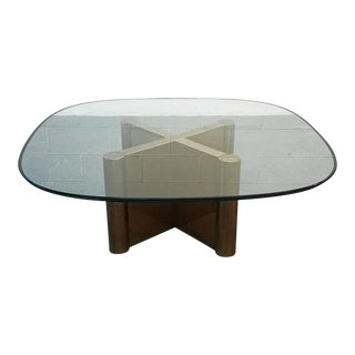 Patinated Bronze Mid Century X Base Coffee Table