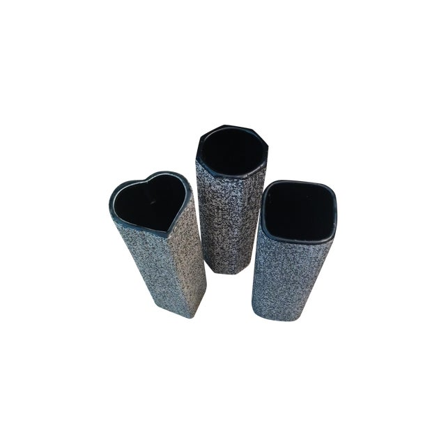 MCM Black & White Splatter Vases - Set of 3 - Image 1 of 4