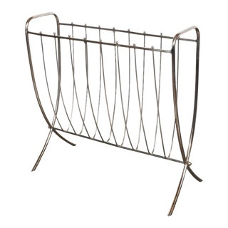 Mid-Century Modernist Nickel Ribbed Magazine Stand, American, circa 1960