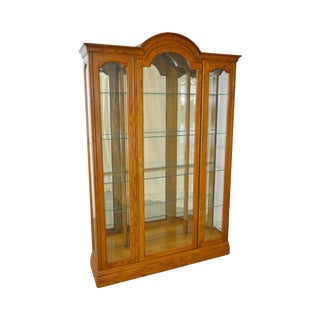 Jasper Traditional Oak Beveled Glass Lighted Curio Display Cabinet