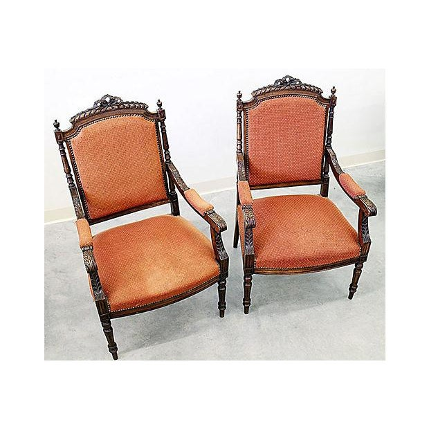 french louis xvi style carved fauteuil armchairs a pair chairish. Black Bedroom Furniture Sets. Home Design Ideas