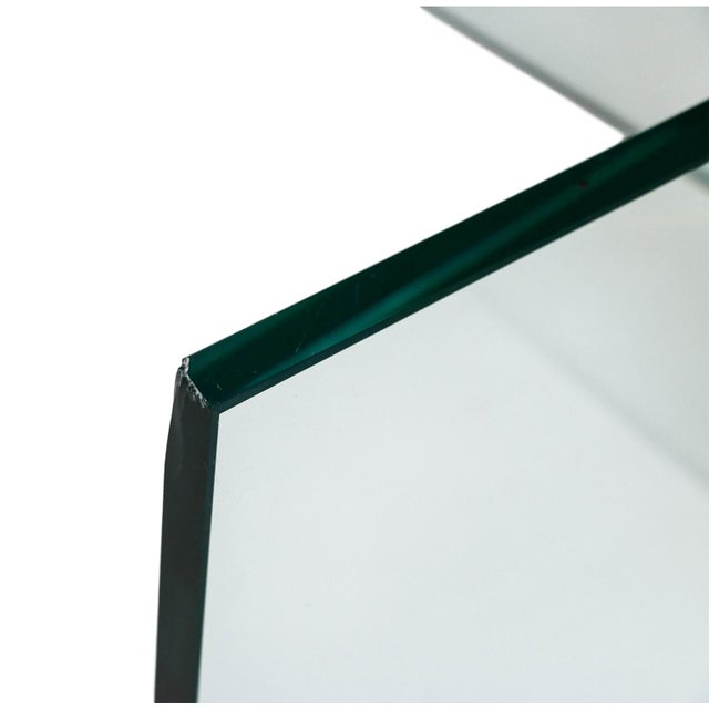 Image of Vintage Pace Collection Rounded Glass Brass Coffee Table