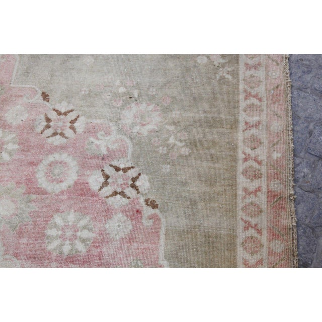 "Vintage Muted Turkish Oriental Rug Carpet - 10'11"" x 6'7"" - Image 8 of 10"