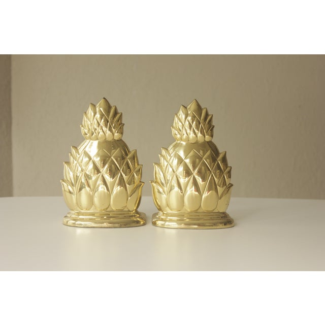 Large Brass Pineapple Bookends - Pair - Image 2 of 7