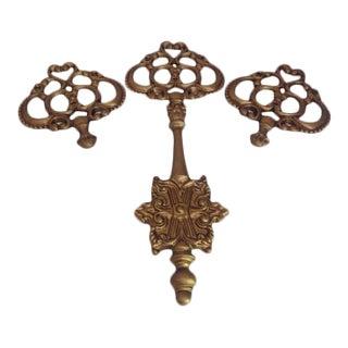 Mid-Century Metal Medallion & Key Wall Decor - Set of 3