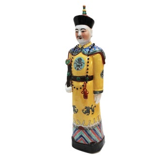 Chinese Hand Painted Yellow Porcelain Figure of an Official
