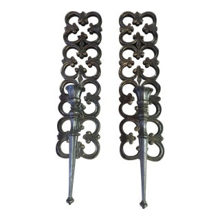 Black Syroco Scroll Candle Sconces - A Pair