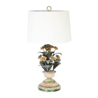 Vintage Art Nouveau Tole Metal Rose Flower Lamp