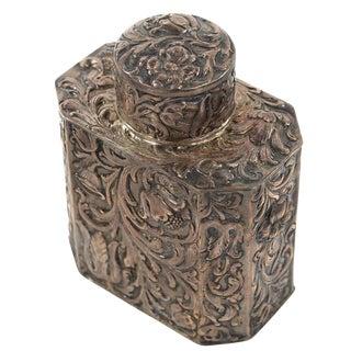 19th Century Antique Silver Repousse Tea Caddy