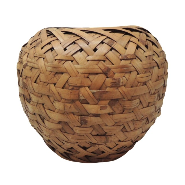 Image of Vintage Woven Bamboo Basket