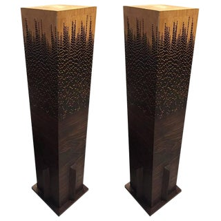 Mid-Century Wood Pedestals - A Pair