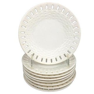 Swedish Creamware Basketweave Plates - Set of 8