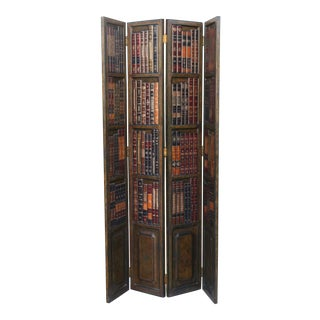 Antique Leather Bookstyle Screen/Divider