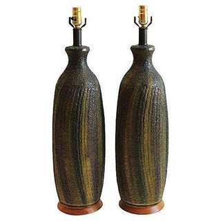 Green Mid-Century Table Lamps - A Pair