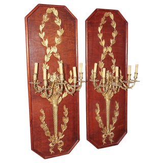 Pair of Palace Size Bronze Wall Sconces