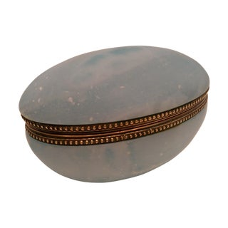 Blue Carved Alabaster Trinket Box with Brass Trim