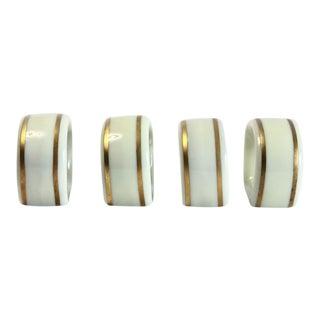 Ivory & Gold Porcelain Napkin Rings - Set of 4
