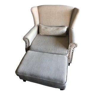 Transitional Style Beige Linen Armchair & Ottoman