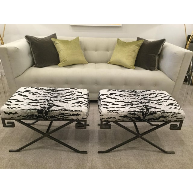 Benches With Schumacher Chenille Tiger Upholstery - A Pair - Image 5 of 5