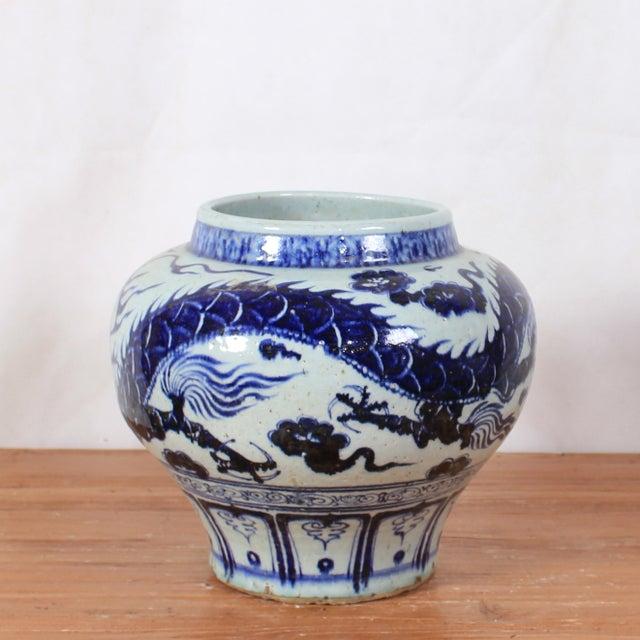 Vintage Sarreid LTD Blue & White Underglaze Vase - Image 2 of 2