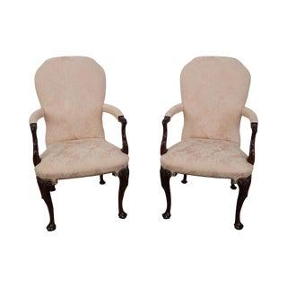 Kindel Georgian Queen Anne Style Mahogany Arm Chairs - A Pair
