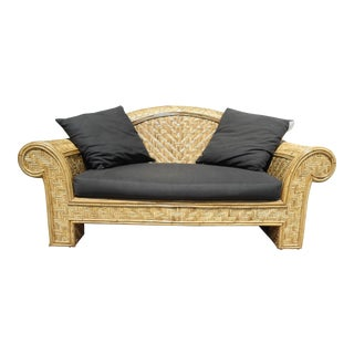Wicker Frame & Black Cushions Outdoor Sofa