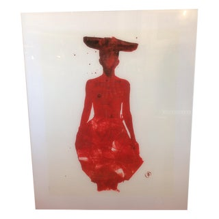 Framed Francois Berthoud Print of Red Lady