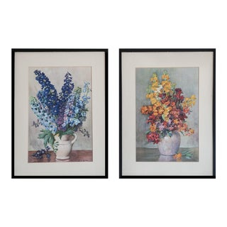 Delphinium & Wallflowers Vintage Prints - A Pair
