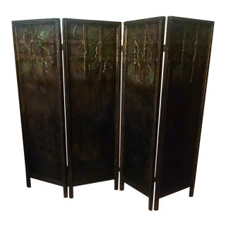Vintage Wooden Panel Folding Fireplace Screen