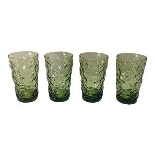 Vintage Green Juice Glasses - Set of 4
