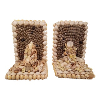 Vintage Shell Bookends - A Pair