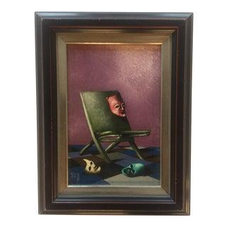 Miniature Surrealist Vintage Oil Painting