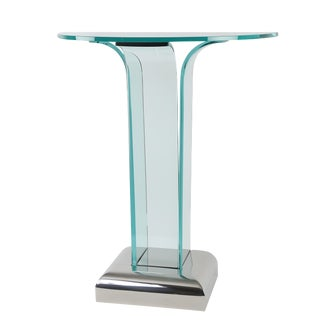 BENT-GLASS DEMILUNE CONSOLE TABLE WITH STAINLESS STEEL BASE, CIRCA 1970S
