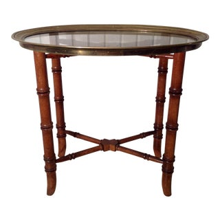 Baker Faux Bamboo Occasional Table With Tray