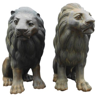 Impressive Pair of Bronze Seated Lion Statues