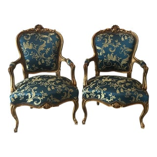 Blue Damak French Louis XVI Chairs - A Pair