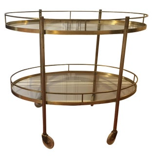 Mid-Century Modern Brass Bar Tea Cart