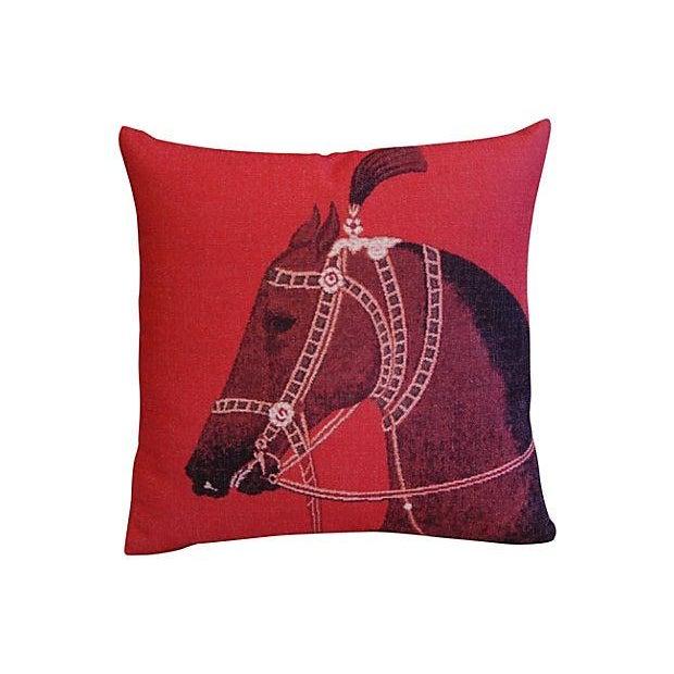 Custom Red Roman Horse Linen Pillows - a Pair - Image 5 of 7
