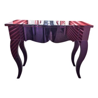 Purple Beveled Mirror 2 Drawer Console Table