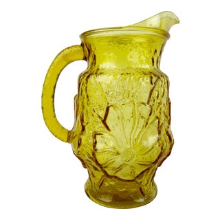 1970s Vintage Yellow Rainflower Anchor Hocking Pitcher