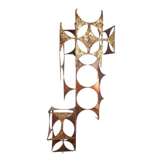 Vintage Modern C. Jere Style Copper and Brass Wall Sculpture