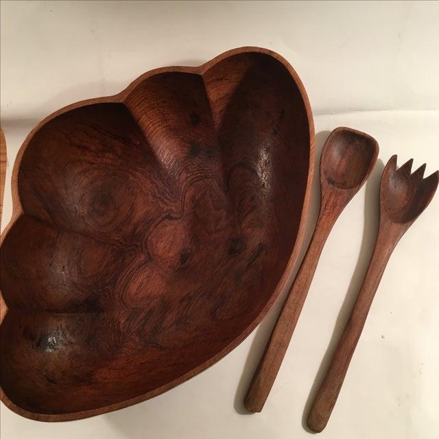 Vintage Teak Wood Salad Serving Set - Image 3 of 9