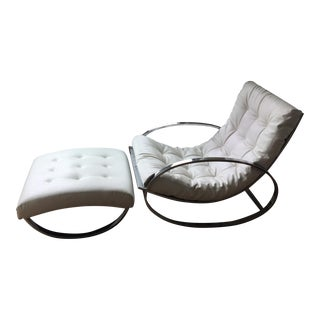 Renato Zevi for Selig Chrome Rocker & Ottoman