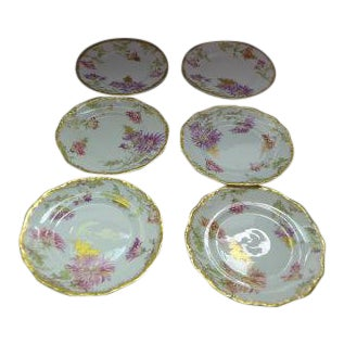 French Limoges Floral Design Dessert/Bread Plates - Set of 6