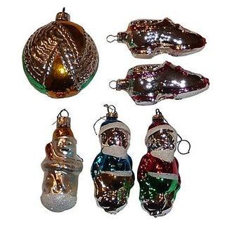 Vintage German Glass Christmas Ornaments - S/6