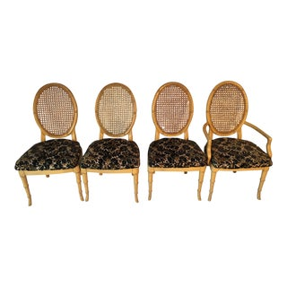 Vintage Faux-Bamboo Dining Chairs - Set of 4