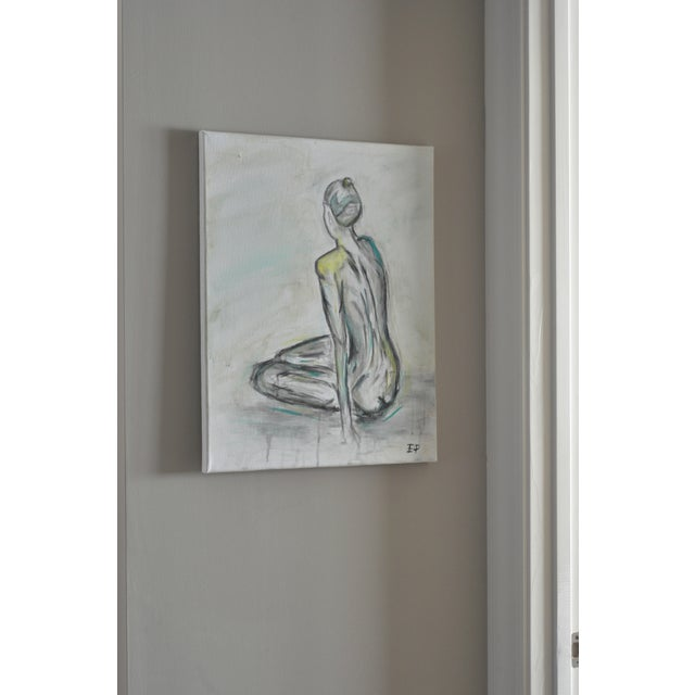 Image of Sitting Nude- Figure Painting, Original & Abstract