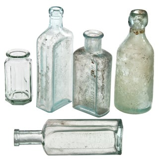 Aqua Glass Display Bottles - Five